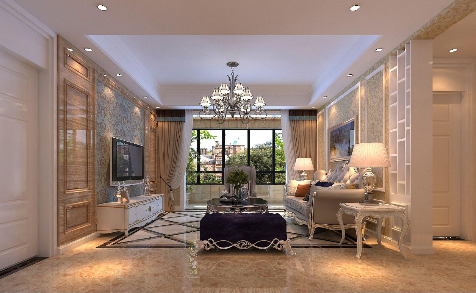 120平方美式风格三居室装修效果图
