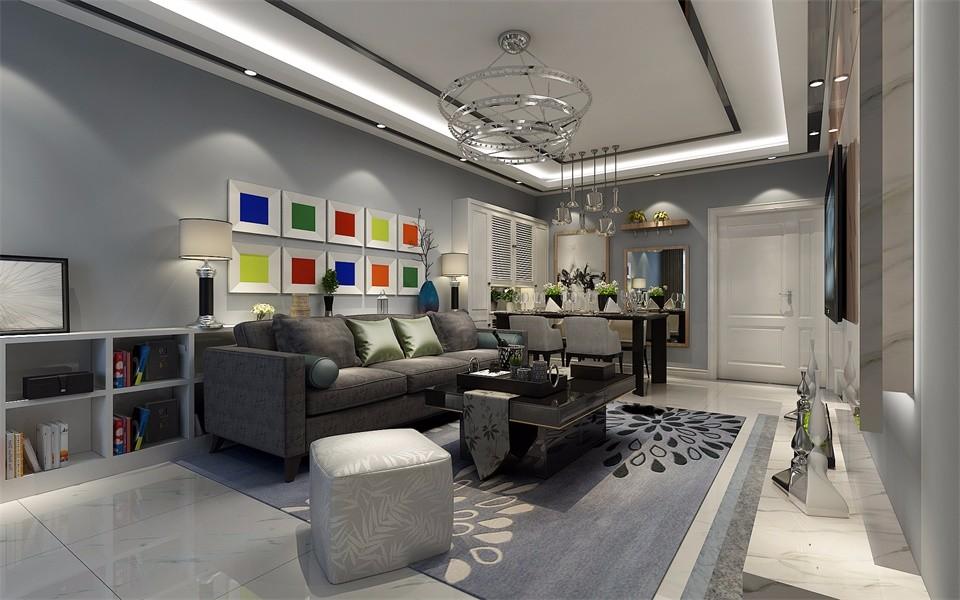 90平米现代风格两室两厅一厨一卫装修效果图
