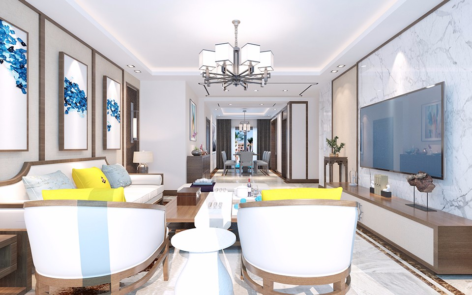 华亿红府200平现代中式三居室装修效果图