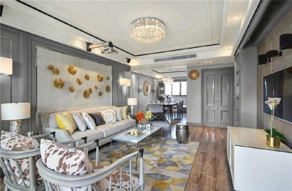 路劲城市主场130平美式三居室装修效果图