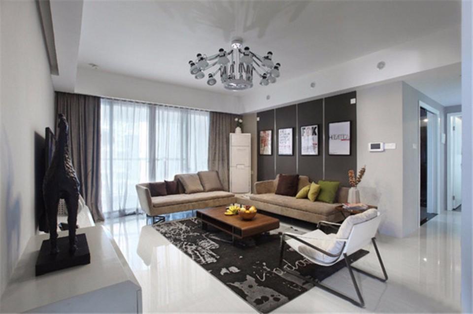 华润国际128现代简约三居室装修效果图