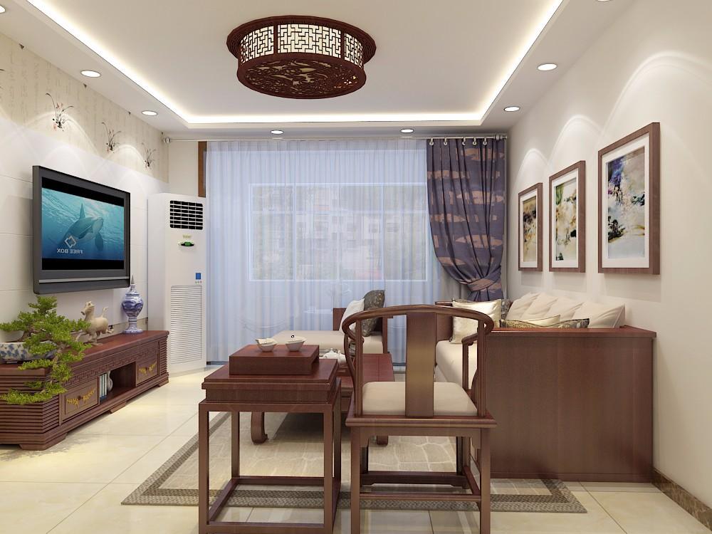 融汇爱都104平三居室中式风格装修效果图