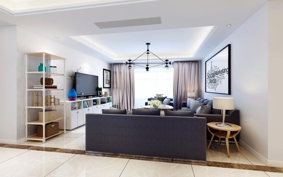 136平现代简约风格三室两厅装修效果图