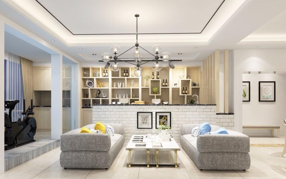 162平北欧风格三室两厅装修效果图
