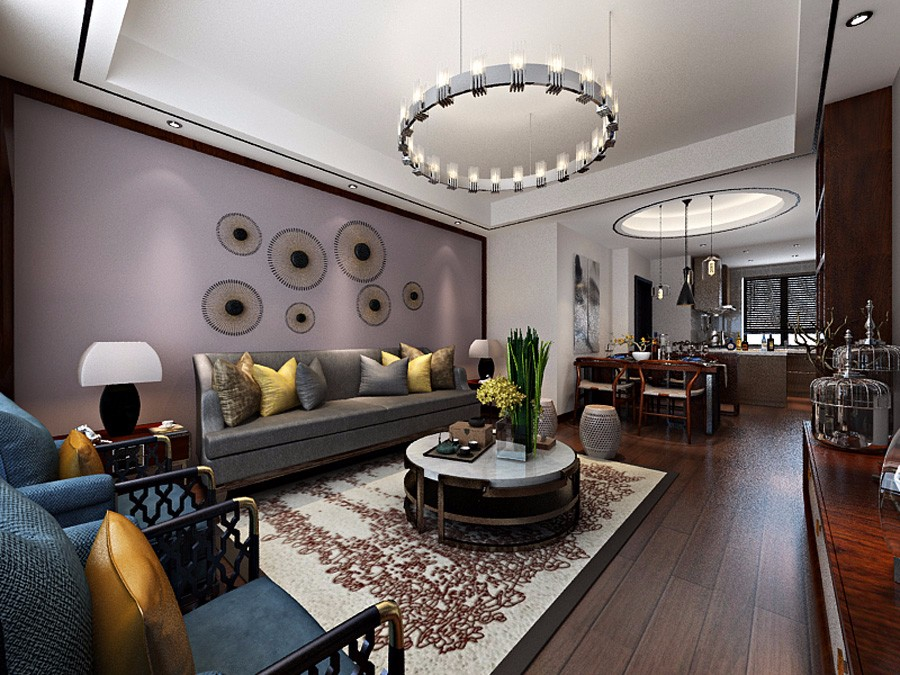中式风格101平米三室两厅新房装修效果图