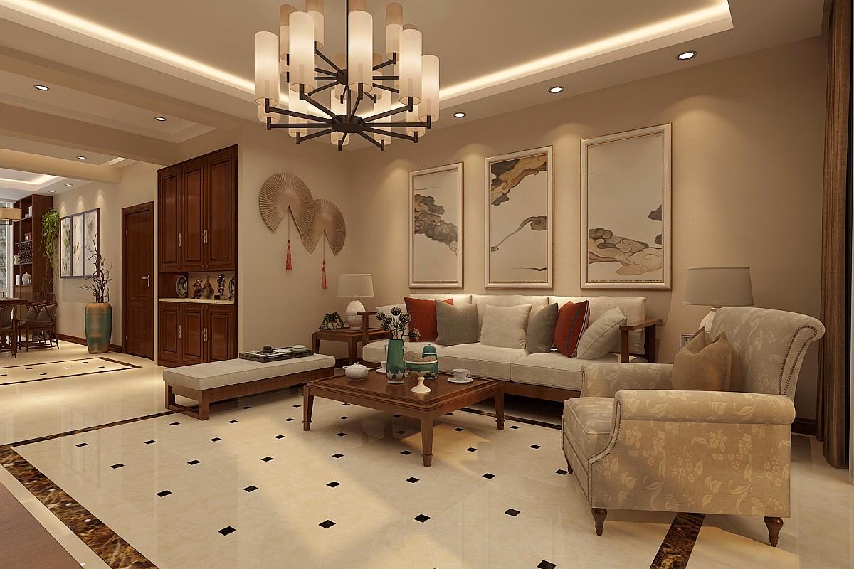 碧桂园140平新中式风格三居室装修效果图