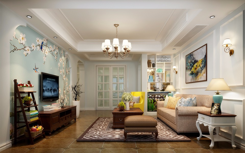寶利豐廣場120平米美式三室兩廳裝修效果圖