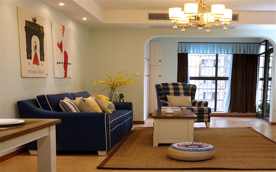 保利清能溪海岸98平美式风格两房装修效果图