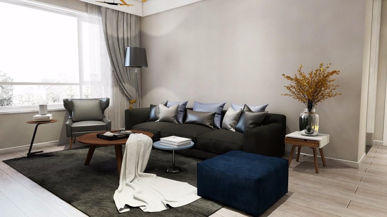 美式风格120平米三室两厅新房装修效果图