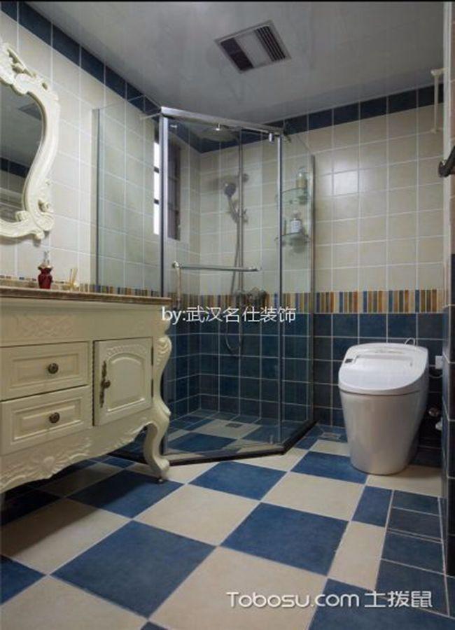 卫生间蓝色地砖美式风格装修设计图片