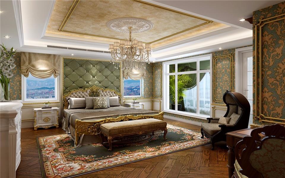 卧室咖啡色落地窗欧式风格装修效果图