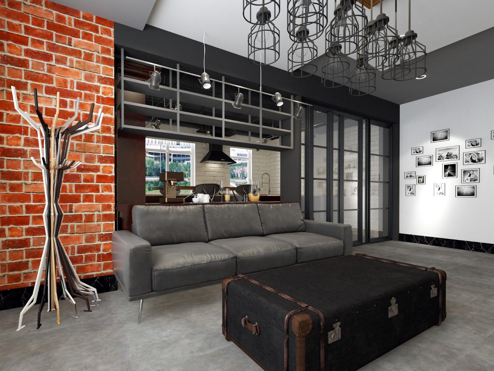 联发君悦华府120平三室两厅后现代工业风格装修效果图