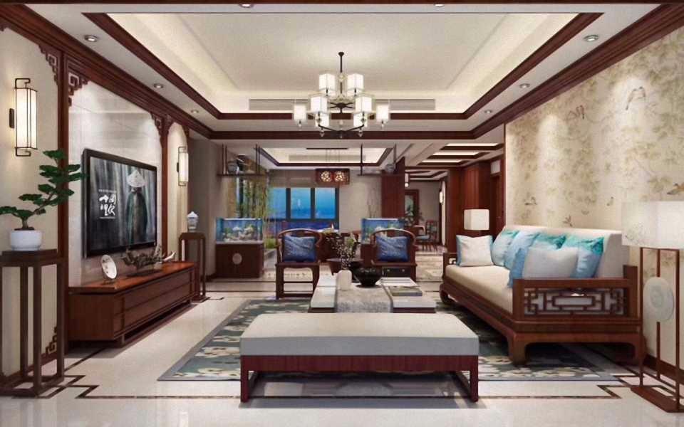 中式风格300平米大户型新房装修效果图