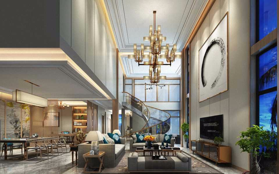 2019现代中式300平米以上装修效果图片 2019现代中式别墅装饰设计