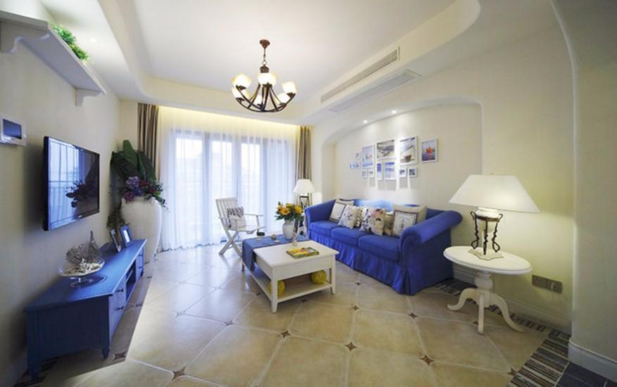 地中海风格92平米三室两厅新房装修效果图