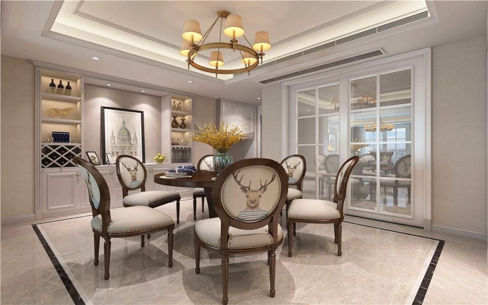 美式风格115平米三室两厅新房装修效果图