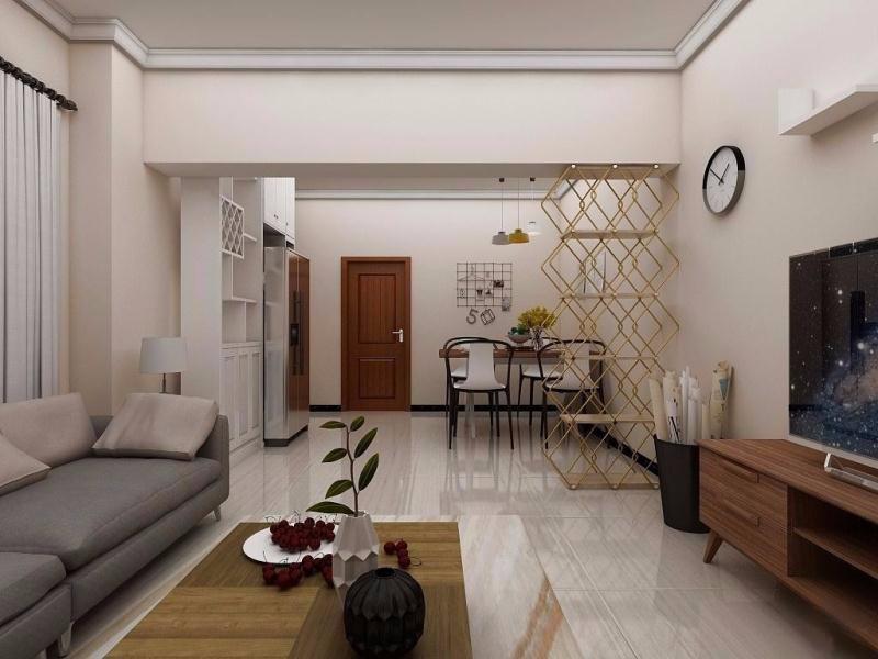 公安宿舍70平两房两厅一卫现代简约风格装修效果图