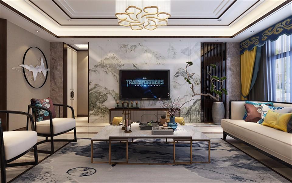 公园伍号258平米新中式风格四居室装修效果图
