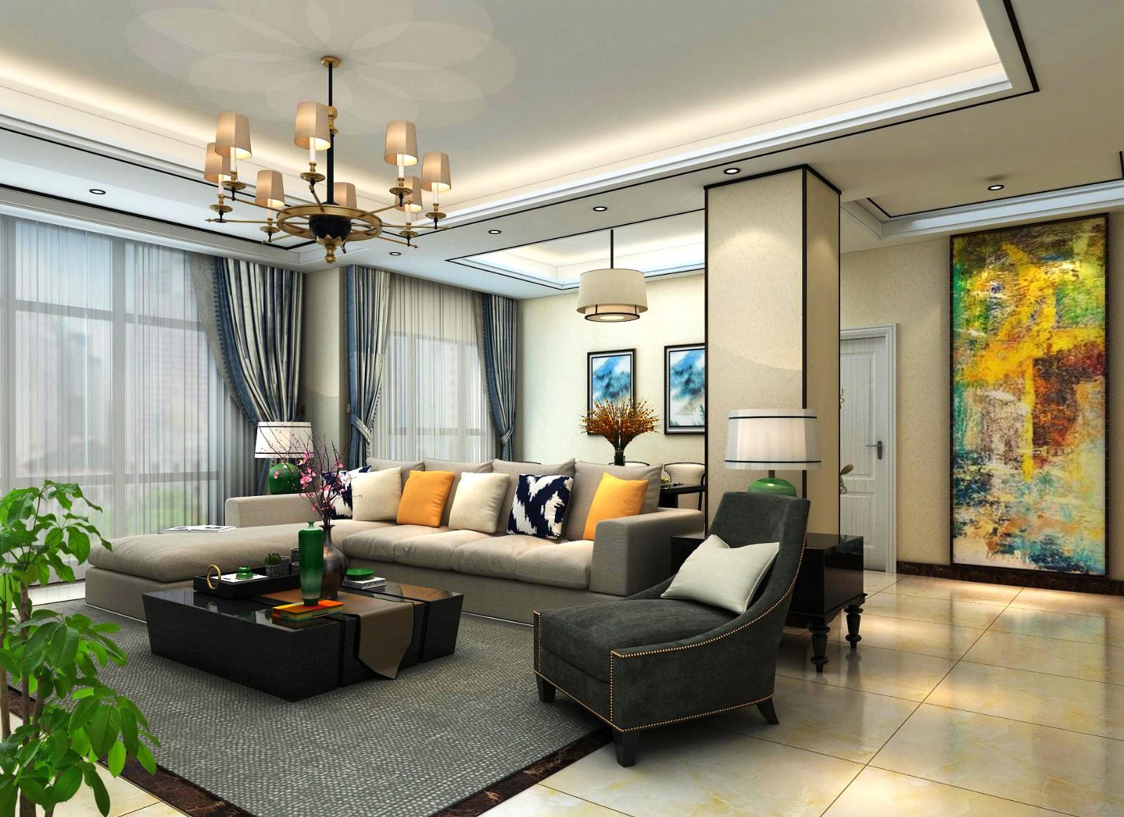 后现代风格160平米三室两厅新房装修效果图