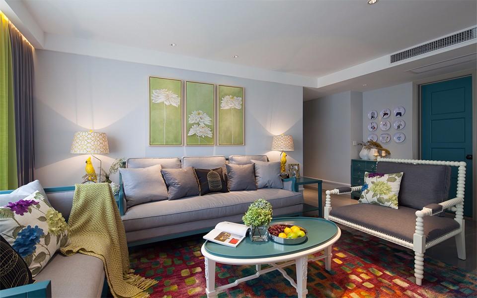 混搭风格105平米三室两厅新房装修效果图