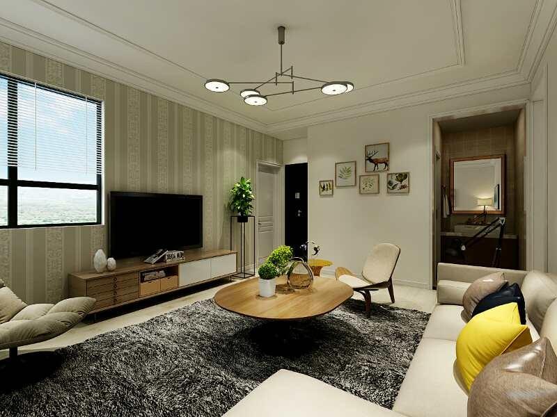 7.6万预算88平米两室两厅装修效果图