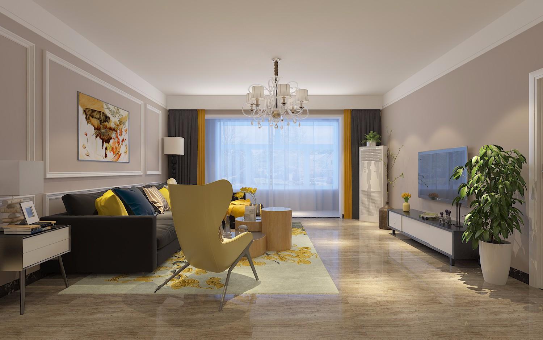 简约风格135平米三室两厅新房装修效果图