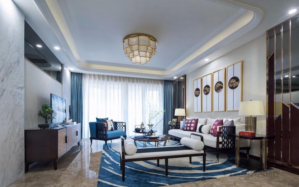 中式风格105平米三室两厅新房装修效果图