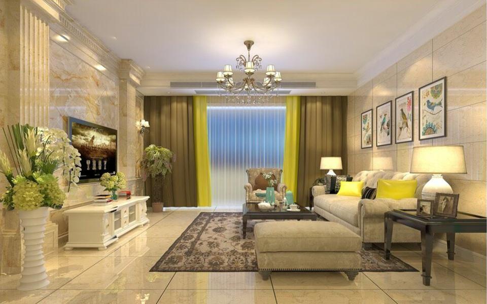 130平米三居室简欧风格装修效果图