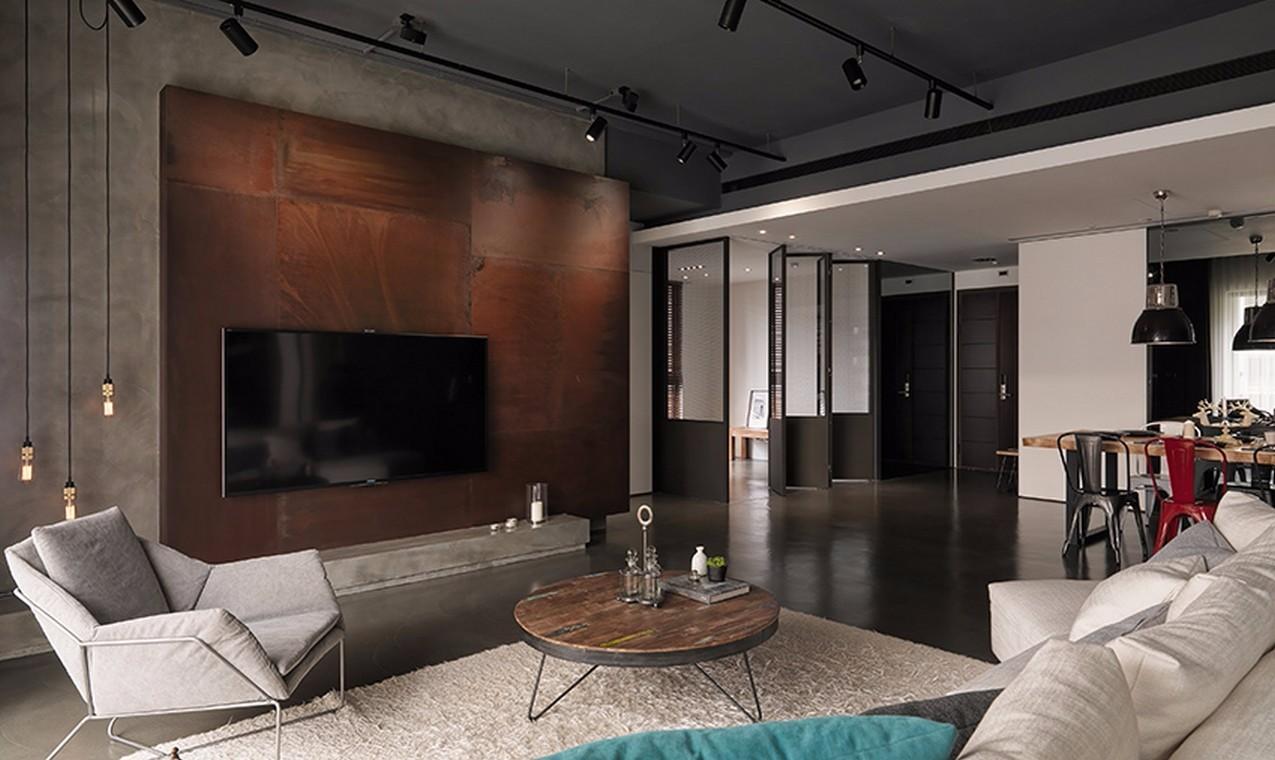 琥珀山庄95平米工业风三居室装修效果图