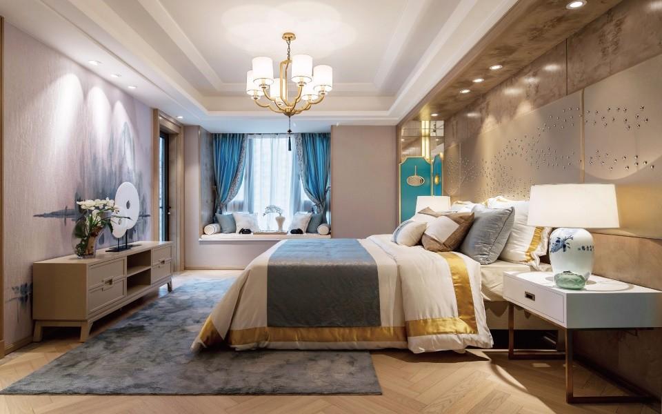 中式风格105平米两室两厅新房装修效果图