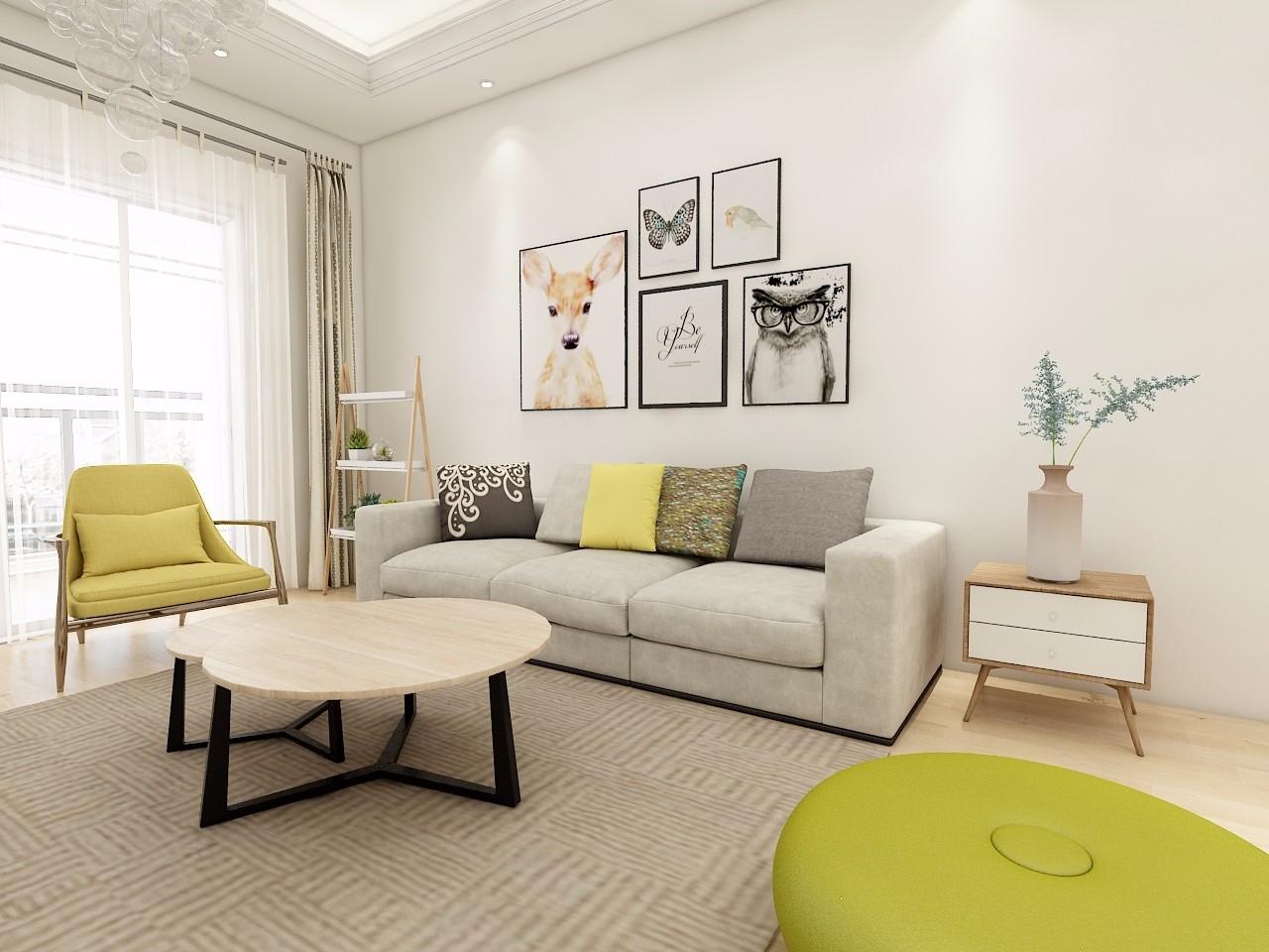 现代风格70平米两室两厅新房装修效果图