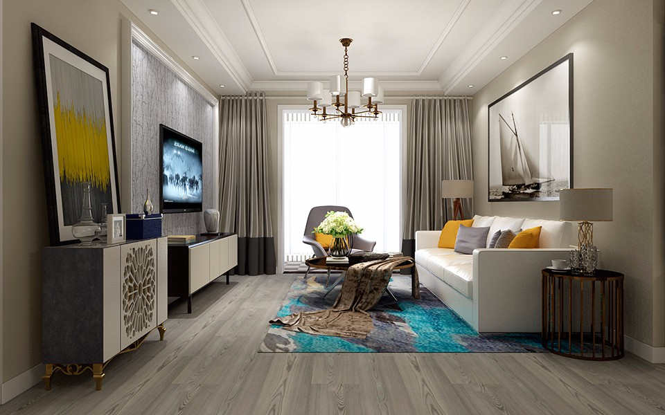 现代简约风格132平米三室两厅新房装修效果图