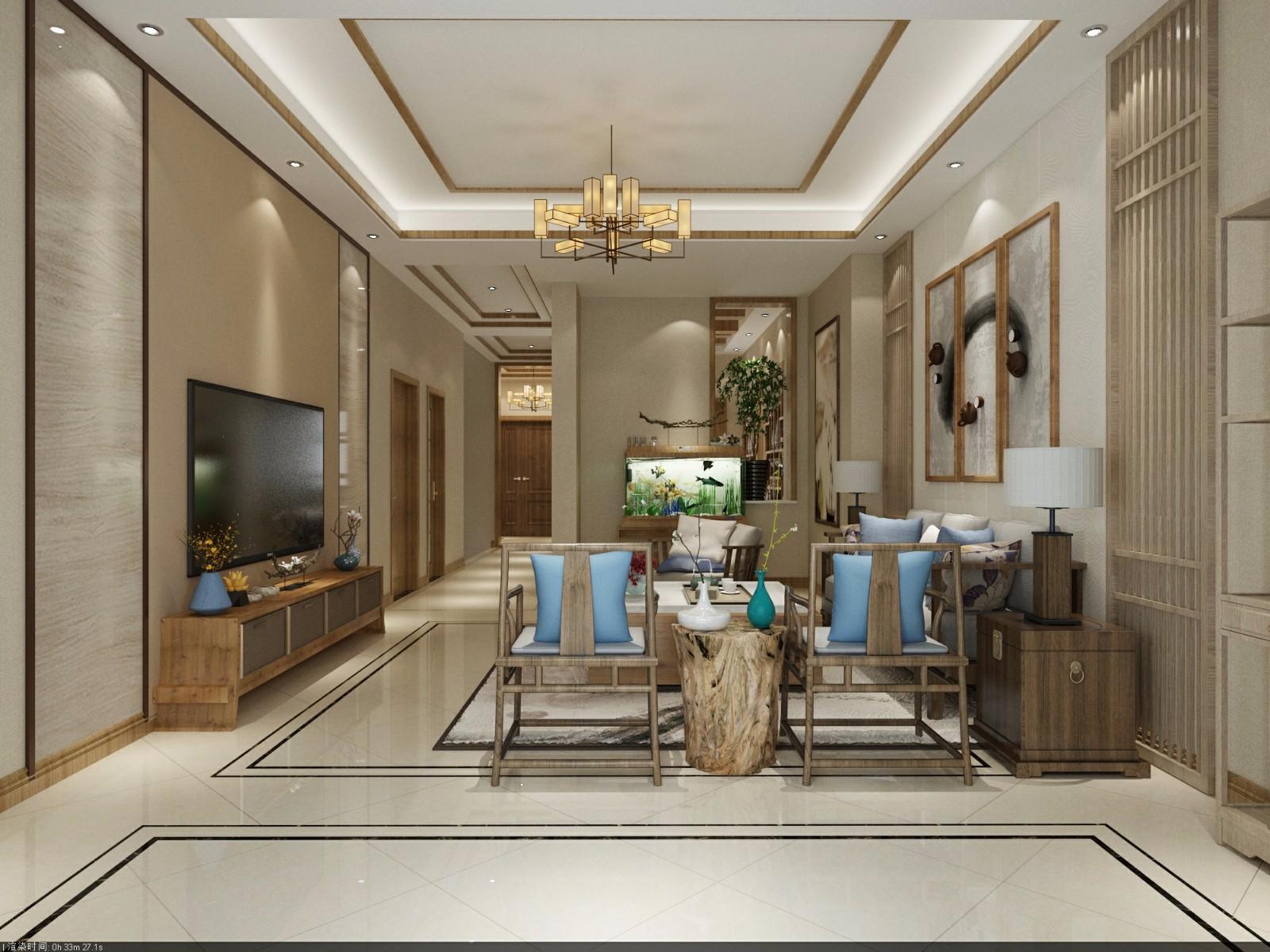 新中式风格180平米大户型室内装修效果图