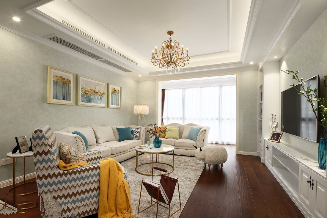 美林青城100平美式风格两居室装修效果图