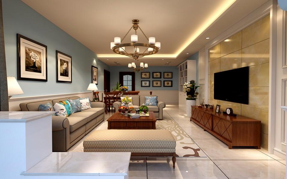 118平方美式风格三居室装修效果图