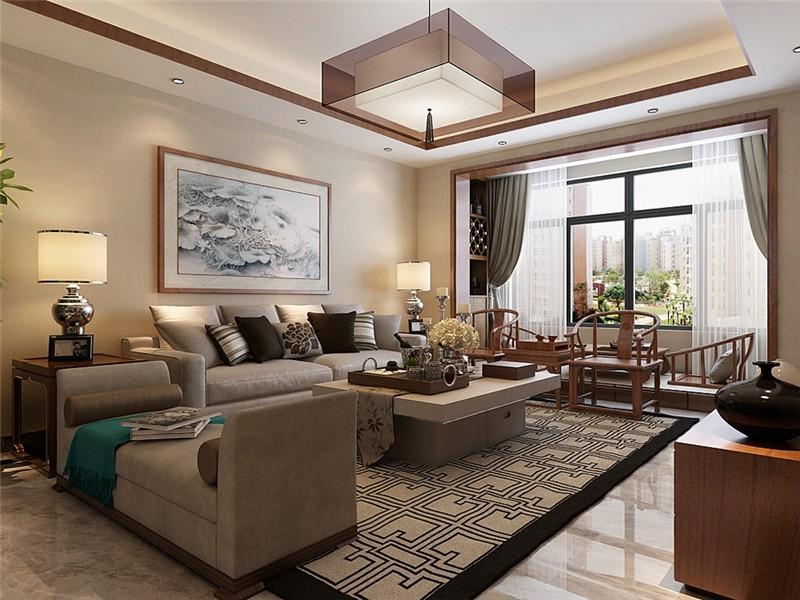 新中式风格100平米三室通厅新房装修效果图