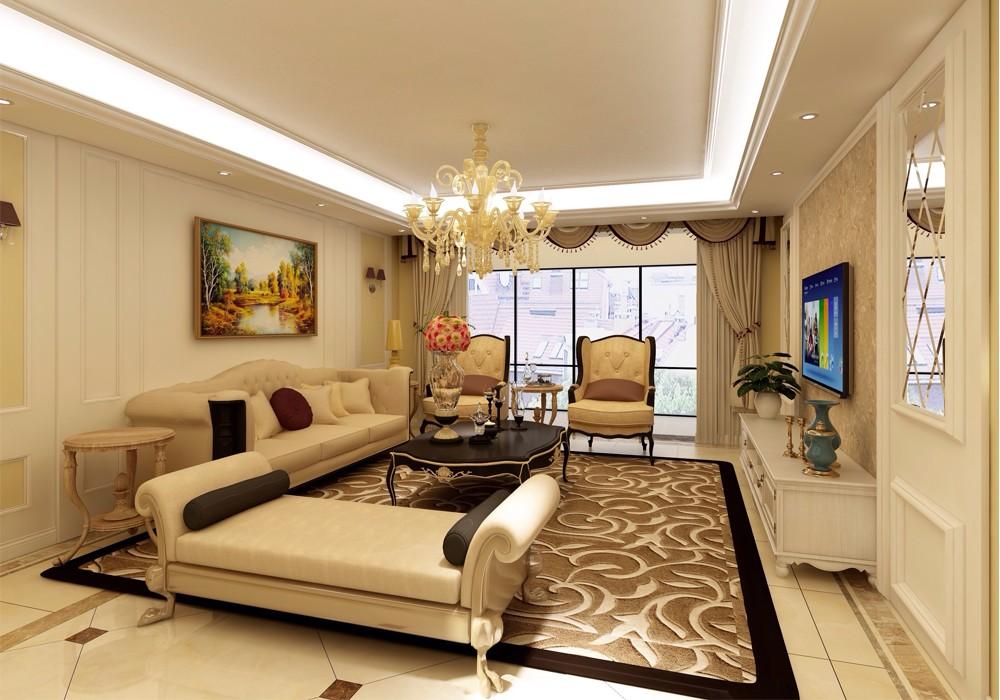 150平米三居室龙跃苑简欧风格装修效果图书