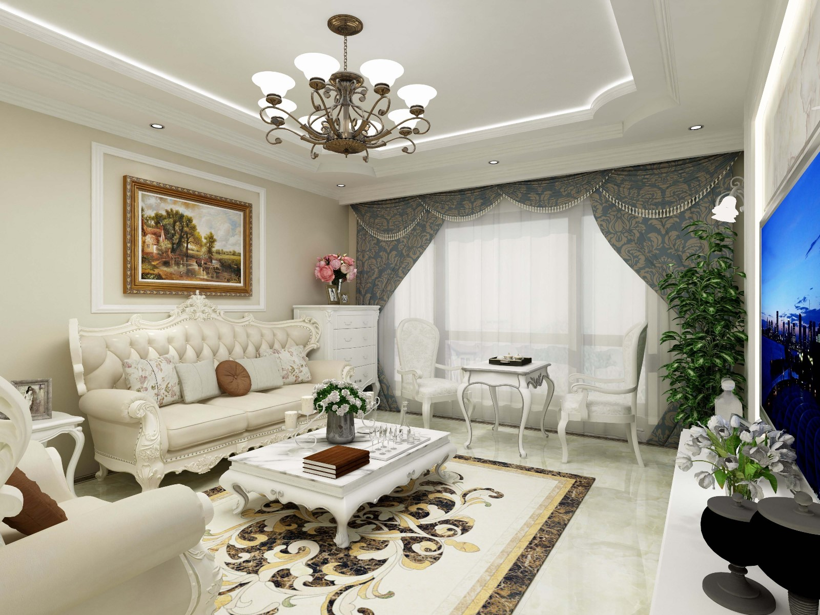 2室2卫1厅101平米简欧风格