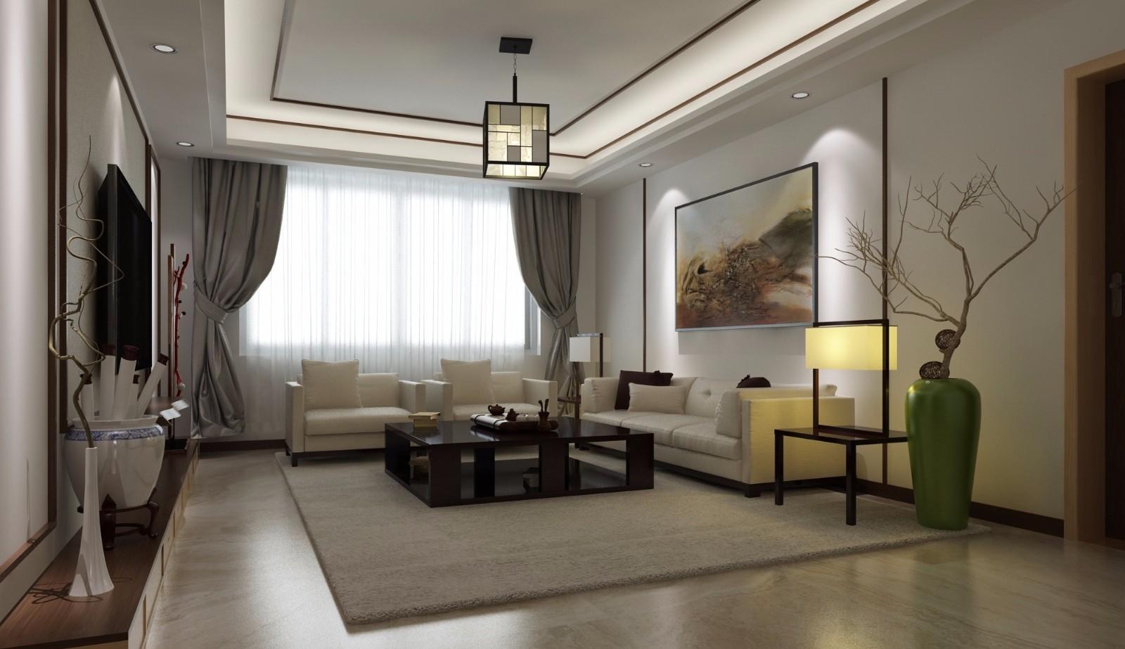 新中式风格70平米两室两厅新房装修效果图
