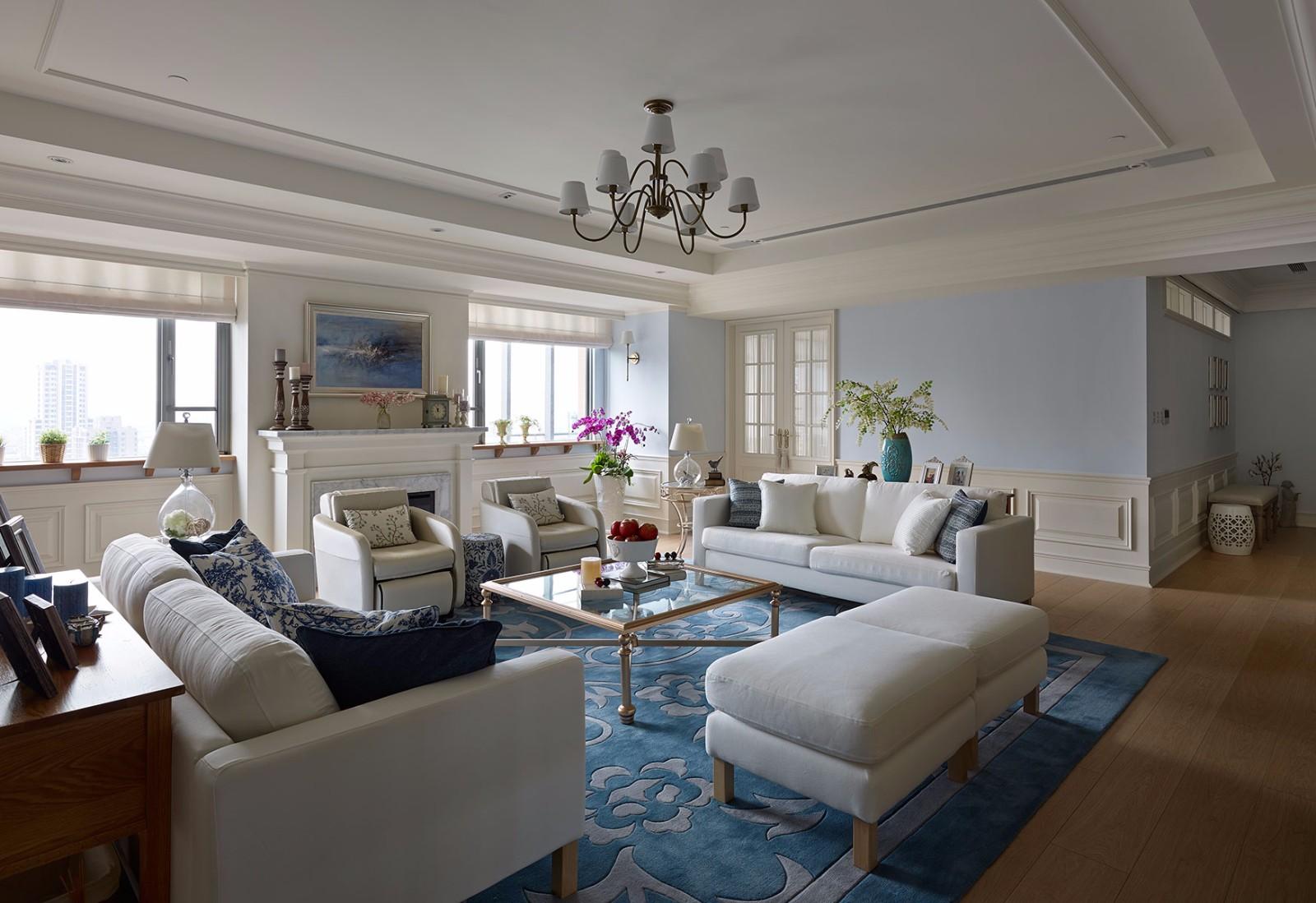 温馨洋溢美式140㎡三居室地中海风格装修效果图