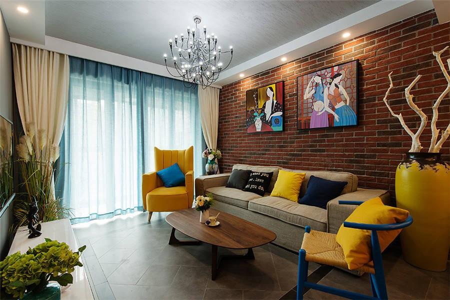 美式风格107平米两室两厅新房装修效果图