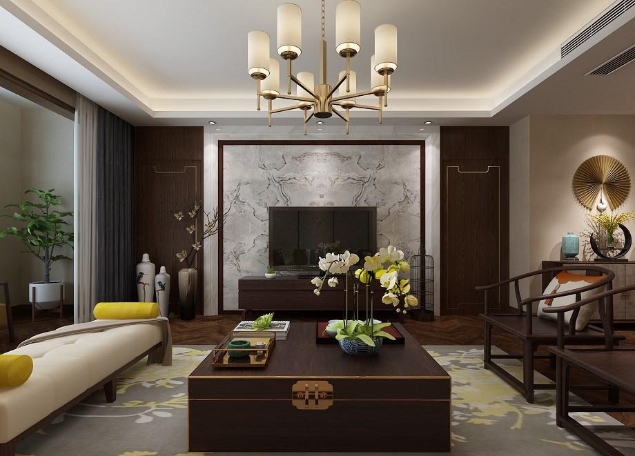 长庆坊135平新中式风格四居室装修效果图