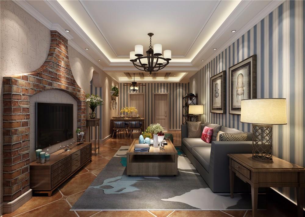 田园风格112平米三室两厅室内装修效果图