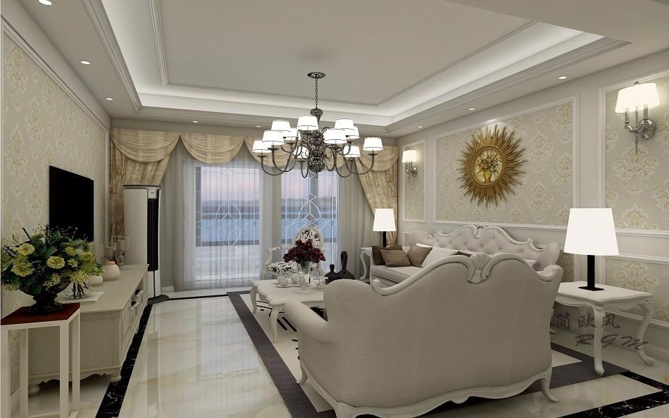 简欧风格130平米三房两厅新房装修效果图