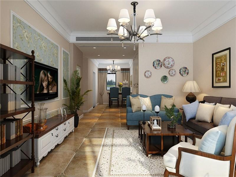 合肥东方名邸100平美式风格三居室装修效果图