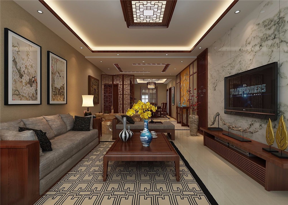 138㎡中式风格三室装修效果图