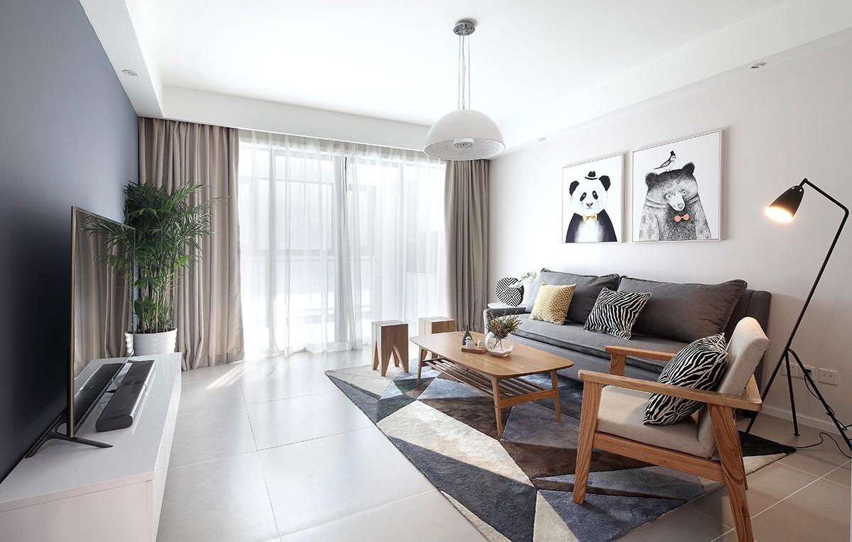 98平北欧风格两居室效果图