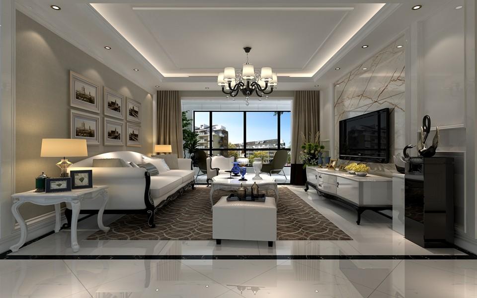 欧式风格140平米三室两厅新房装修效果图