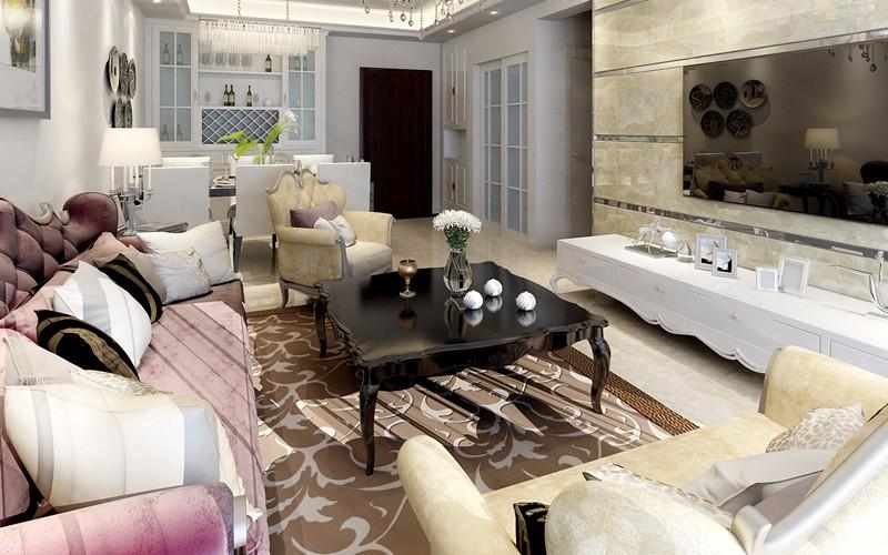 绿岛明珠两百平五房两厅三卫简欧风格效果图
