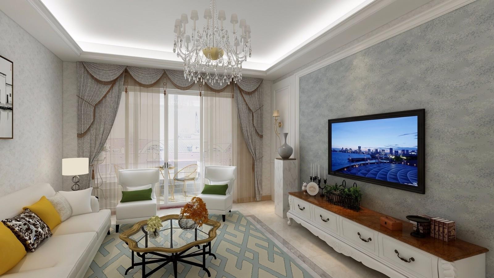 锦尚名苑112平方欧式轻奢2室2厅装修效果图